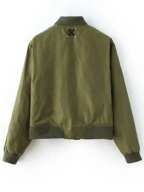 Zipped Lace Up Bomber Jacket - ARMY GREEN S Mobile