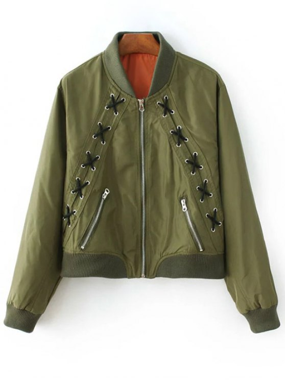 Zipped Lace Up Bomber Jacket ARMY GREEN: Jackets & Coats | ZAFUL