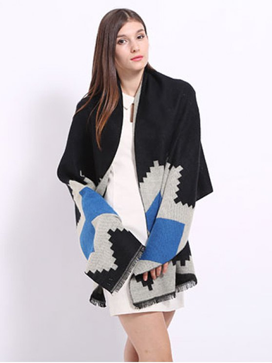 Geometry Pattern Fringed Shawl Pashmina -   Mobile