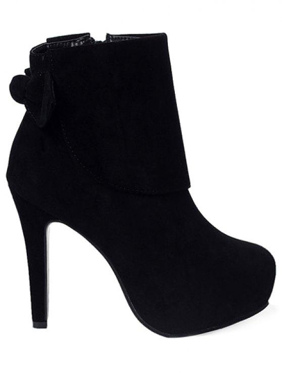 Bowknot Zipper Flock Short Boots - BLACK 37 Mobile