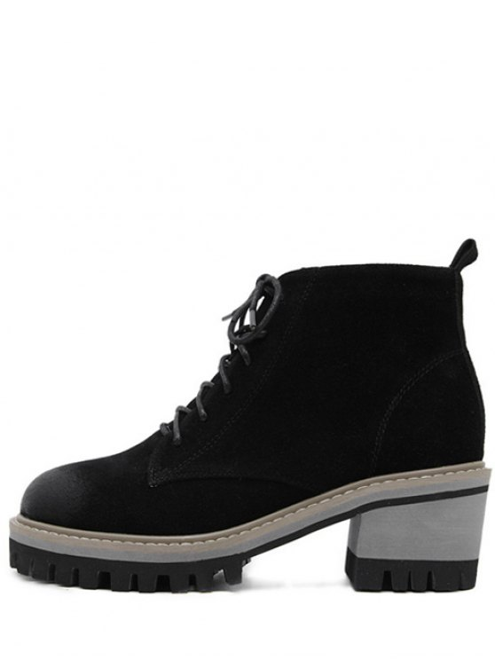 Dark Colour Platform Tie Up Ankle Boots - BLACK 39 Mobile