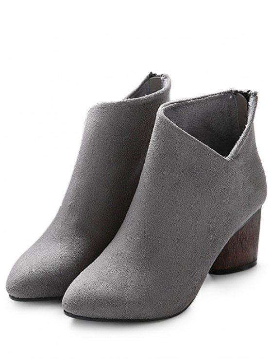 V-Shape Pointed Toe Zipper Ankle Boots - GRAY 39 Mobile