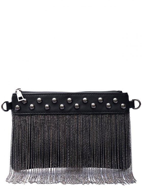 Chains PU Leather Fringe Clutch Bag - BLACK  Mobile
