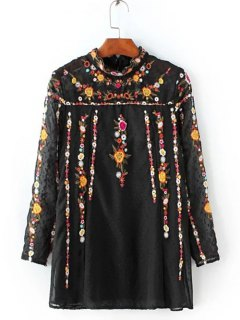 Ruffled Flowers Mexican Embroidered Spliced Blouse - Black S
