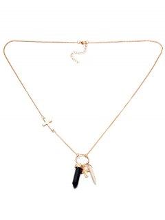 Bullet Cross Circle Necklace - Black