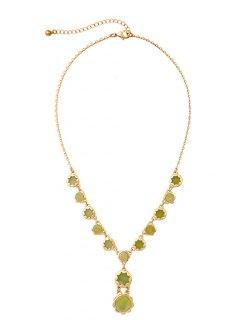 Flower Shape Adjustable Resin Pendant Necklace - Golden