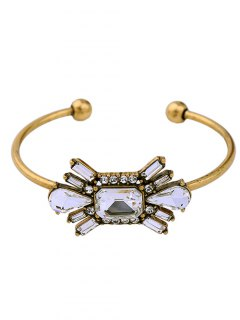 Rhinestone Artificial Gemstone Floral Cuff Bracelet - Golden