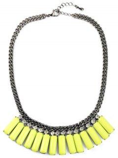 Faux Gemstone Geometric Necklace - Yellow