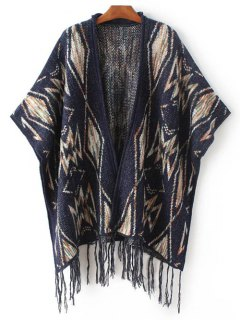Geometric Jacquard Poncho - Purplish Blue