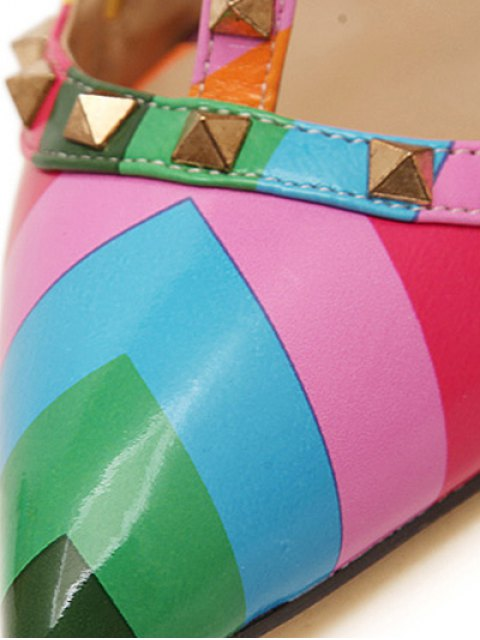 unique Striped Pattern Colour Block Rivets Pumps - COLORMIX 40 Mobile
