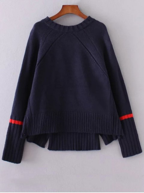 hot Double Slit High Low Sweater - CADETBLUE ONE SIZE Mobile