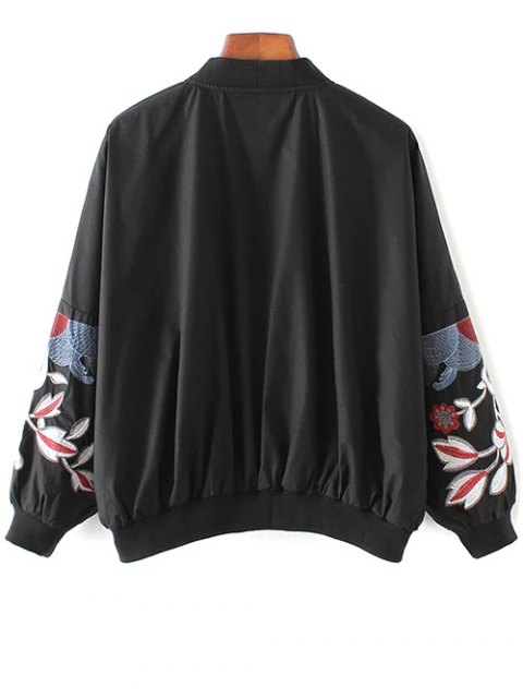 chic Embroidered Souvenir Jacket - BLACK S Mobile