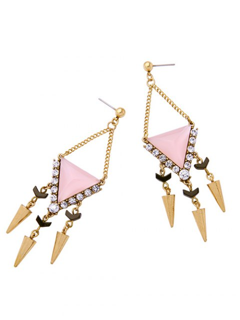 unique Rhinestone Triangle Rivet Pendant Earrings - PINK  Mobile