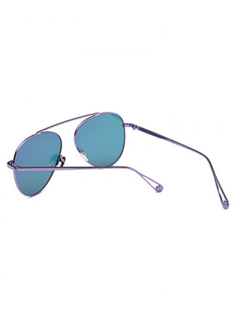 best Lightweight Metal Mirrored Pilot Sunglasses - LIGHT PURPLE  Mobile