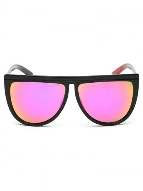 outfit Color Block Leg Oversized Mirrored Sunglasses - PEACH PINK  Mobile