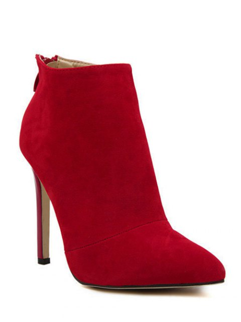 outfits Pointed Tie Flock Zipper Ankle Boots - RED 37 Mobile