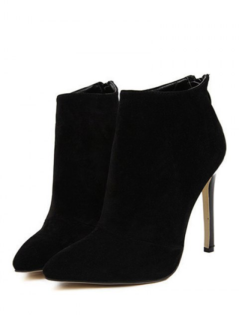 shops Pointed Tie Flock Zipper Ankle Boots - BLACK 39 Mobile