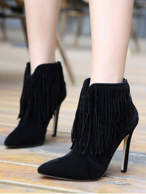 unique Fringe V-Shape Zipper Ankle Boots - BLACK 37 Mobile