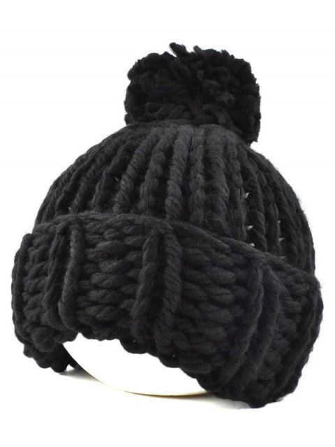 online Big Ball Flanging Coarser Knit Hat - BLACK  Mobile