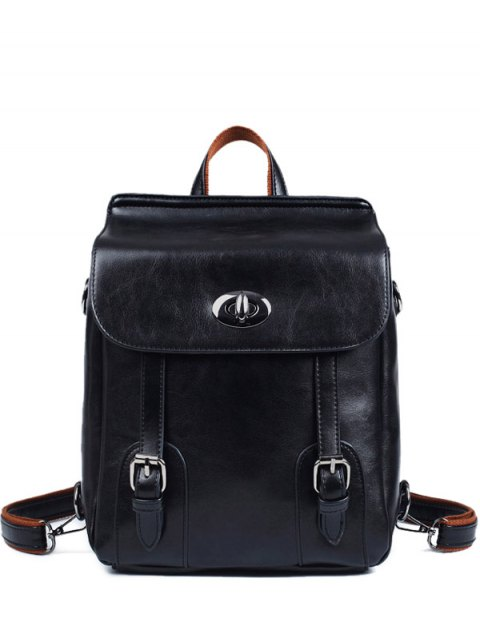 shops Strap Buckles PU Leather Backpack - BLACK  Mobile
