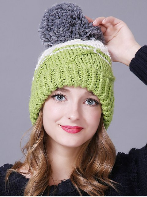 hot Big Ball Stripy Braid Knitted Beanie - LIGHT GREEN  Mobile