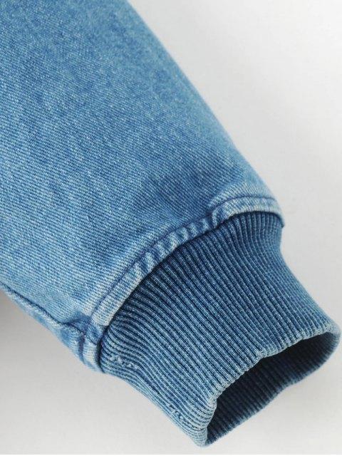 shops Embroidered Zipped Denim Jacket - DENIM BLUE L Mobile
