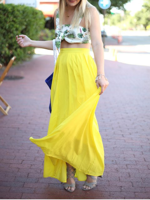 latest High-Waisted Maxi Skirt - YELLOW XL Mobile