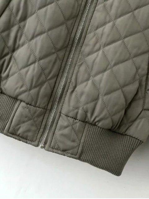 best Raglan Sleeve Argyle Padded Bomber Jacket - PEA GREEN L Mobile