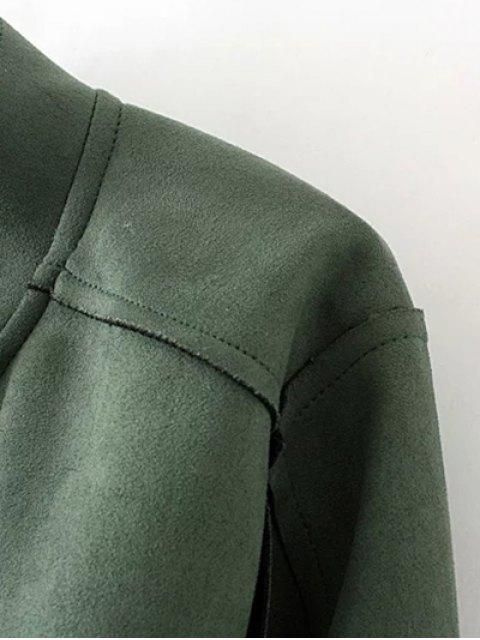 latest Plus Size Suede Jacket - BLACK 2XL Mobile