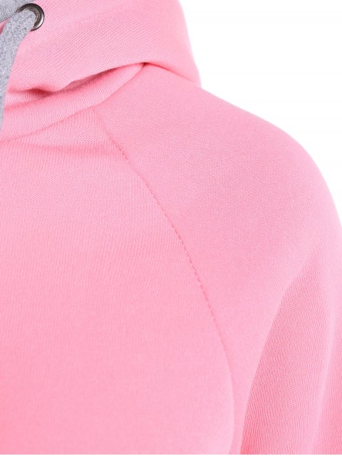 unique Double Hooded Drawstring Hoodie - PINK 2XL Mobile