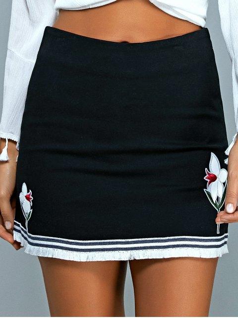 sale Floral Applique Mini A Line Skirt - BLACK M Mobile