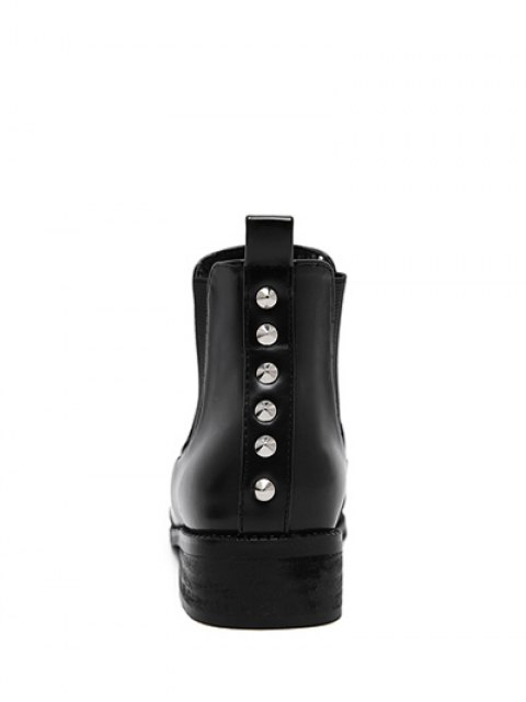 shop Pointed Toe Rivets Elastic Band Ankle Boots - BLACK 38 Mobile