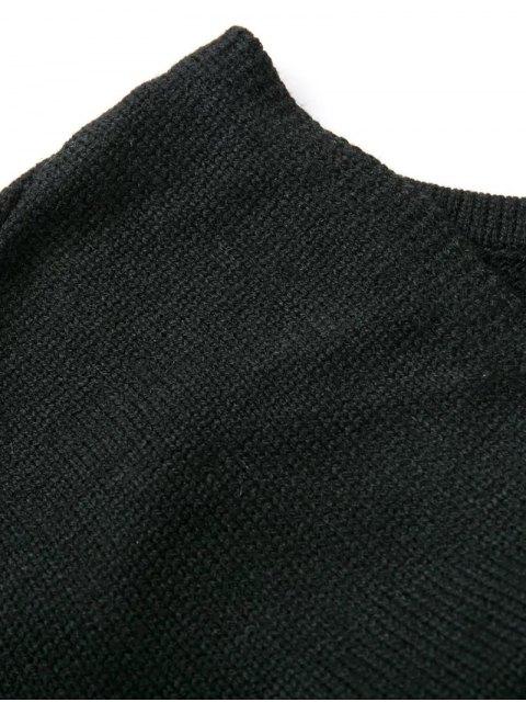 fancy Drop Shoulder Reversible Sweater - BLACK ONE SIZE Mobile