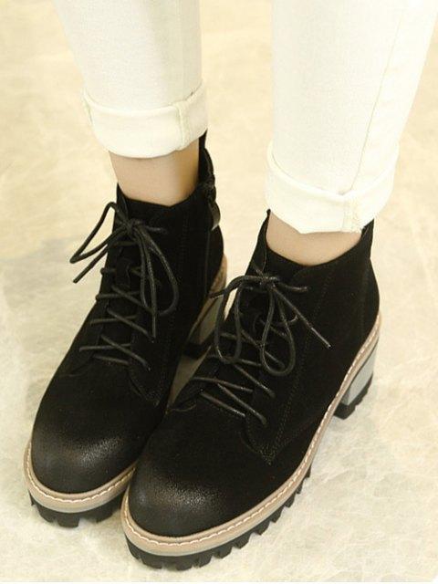 women's Dark Colour Platform Tie Up Ankle Boots - BLACK 39 Mobile