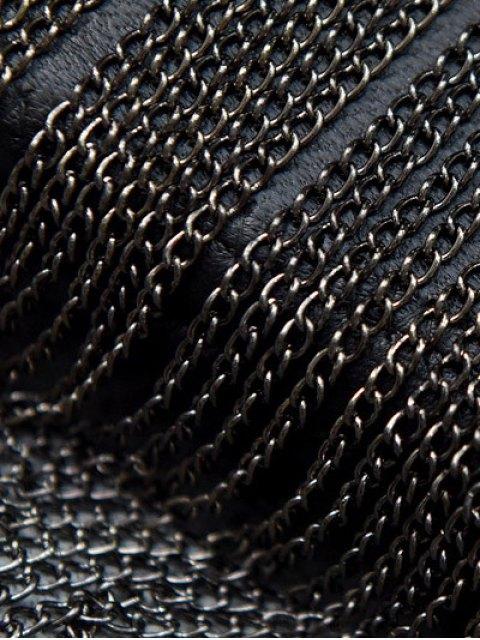 hot Chains PU Leather Fringe Clutch Bag - BLACK  Mobile