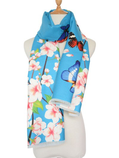Butterfly Peach Flower Print Shawl Scarf - LIGHT BLUE  Mobile