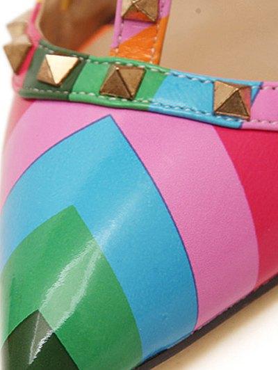 Striped Pattern Colour Block Rivets Pumps - COLORMIX 37 Mobile