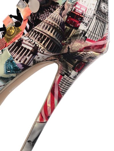 Hollow Out Building Print Tie Up Boots - COLORMIX 40 Mobile