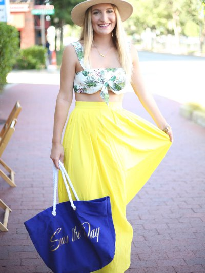 High-Waisted Maxi Skirt - YELLOW M Mobile