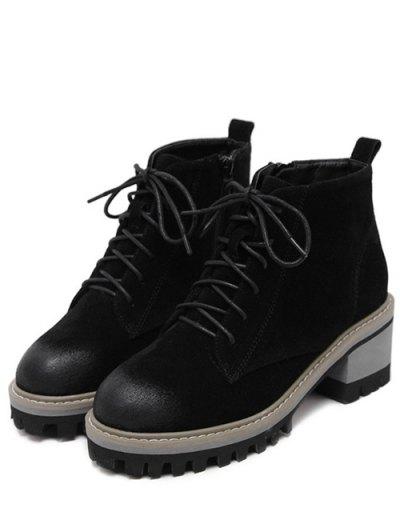 Dark Colour Platform Tie Up Ankle Boots - BLACK 39 Mobile