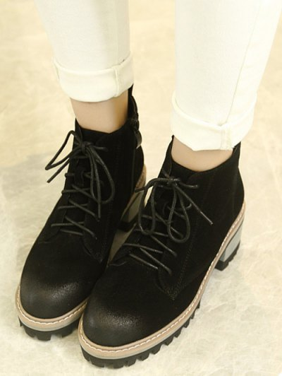 Dark Colour Platform Tie Up Ankle Boots - BLACK 37 Mobile