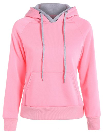 Double Hooded Drawstring Hoodie - PINK 2XL Mobile