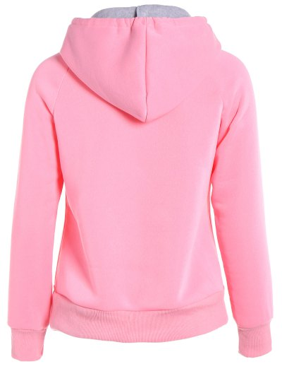 Double Hooded Drawstring Hoodie - PINK XL Mobile