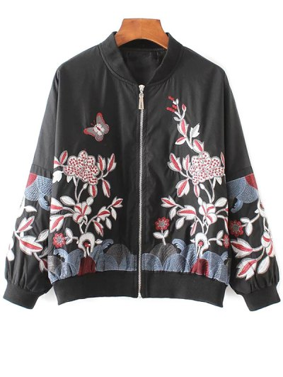 Embroidered Souvenir Jacket - Black