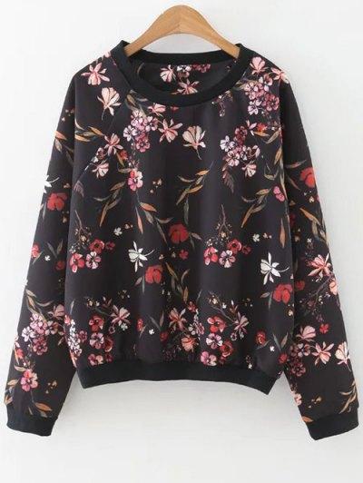 Raglan Sleeve Floral Sweatshirt - Black