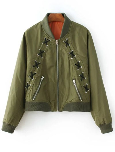 Zipped Lace Up Bomber Jacket - Army Green