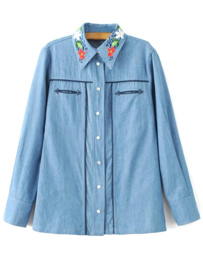 Denim Embroidered Overshirt - Denim Blue