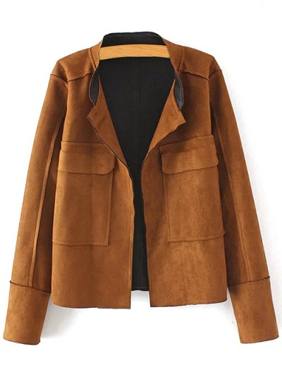 Plus Size Suede Jacket - Coffee