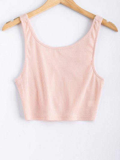 Backless Straps Cropped Tank Top - Pink