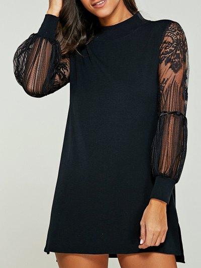 Lace Panel Mock Neck Sweater Dress - Black Xl